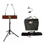 Мобильная трибуна для выступлений с микрофонами и чехлами